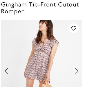 NWT madewell Gingham Tie-Front Cutout Romper